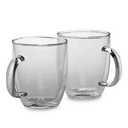 New Bodum Bistro 10oz/15oz Double Wall Coffee Mug - Set of 2
