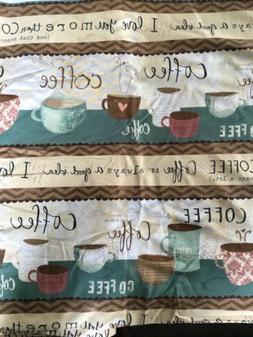 NEW Coffee Latte Espresso Cups & Saucers Mugs Fabric Valance