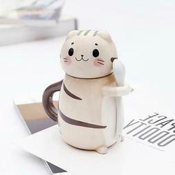 New Cute Cat Ceramics Coffee Mug With Spoon Creative Hand Pa