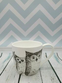 NEW Rose of England Fine Bone China Black & White Owls Coffe