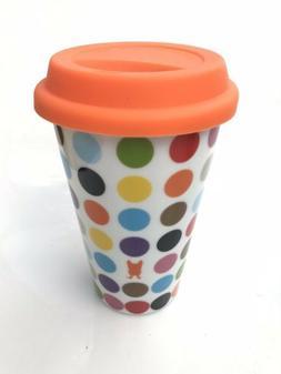 New! OUI by French Bull Multi Dots Travel Mug Porcelain 11oz