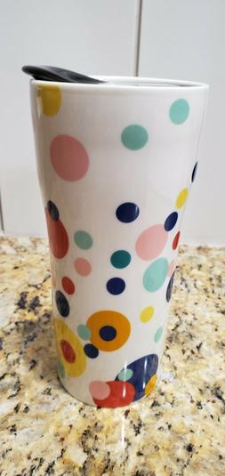 New Porcelain Coffee Travel Mug Cup Hot Cold Polka Dot 12 oz