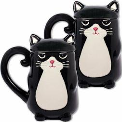 NEW  Black Kitty Cat Feline Shaped Coffee Mug - Tail Handle