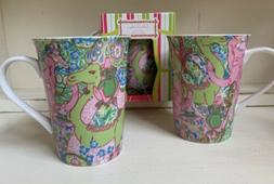 New Lilly Pulitzer Set/3 JUNGLE JAM Porcelain Mug Coffee Tea