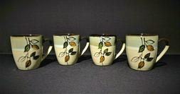 NEW Set of 4 Pfaltzgraff Rustic Leaves HAND PAINTED Mugs Cof
