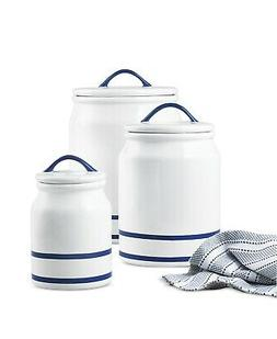 NIB Nautical Beachy Kitchen Ceramic Canisters Set of 3 Navy