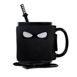 Ninja Mug Black Mask Ceramic Cup With Spoon Sword Coffee Mil