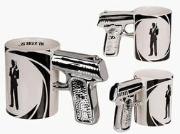 NOVELTY SILVER GUN HANDLE MY NAME IS BOND COFFEE MUG CUP NEW