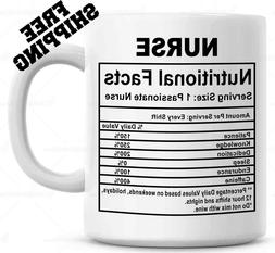 Nurse Gifts Coffee Mug 11oz. Nutritional Label Funny Nurse P