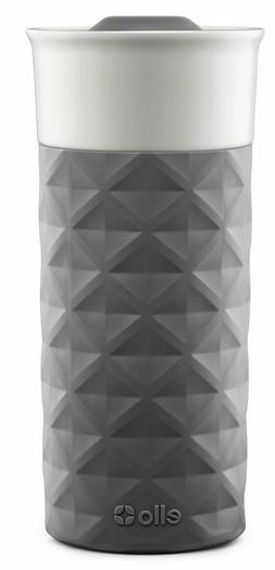 Ello Ogden BPA-Free Ceramic Travel Mug with Lid, Grey, 16 oz