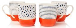Sabichi Orange & White  4 Piece Mug Set New Bone China Tea C