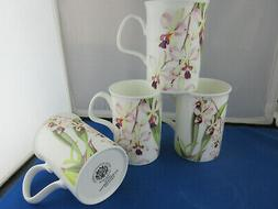 ORCHIDS, SET 4 FINE BONE CHINA mugs MADE IN ENGLAND  by Roy