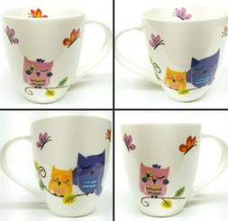 Ciroa Owl and Butterfly Mug New Bone China Porcelain Coffee