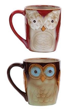 Gibson Home 92982.02RM Owl City Set of 2 17 Ounce Mugs, Mult