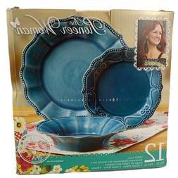 Pioneer Woman Paige 12 Pc Teal Dinnerware Set PAIGE DENIM Pl