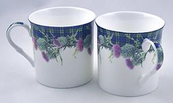 Pair English Premium Fine China Mugs - Green Christmas Plaid