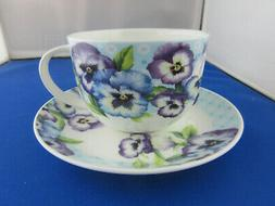 PANSY GARDEN FINE BONE CHINA  BREAKFAST CUP SAUCER, ROY KIRK