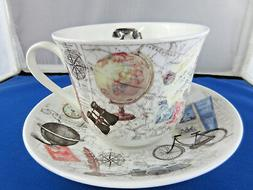 PASTIMES  BREAKFAST CUP SAUCER fine bone china Made in Engla