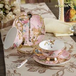 Pastoral Bird Bone China Tea Cup Saucer Spoon Set Europe Por