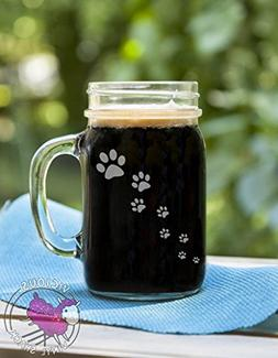 Paw Prints Walking Etched Glass Mason Jar Mug with Handle Lo