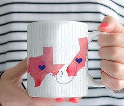 Personalized State US Long Distance Friend BFF Sisters Coffe