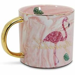 Pink Marble Flamingo Coffee Mug Ceramic Tea Cups Gifts Mugs