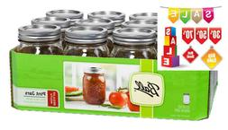 Pint Jars Set 12 Pack 16 oz with Lids and Bands Ball Mason R