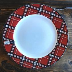 "Ciroa PLAID Red Tartan Christmas Salad / Accent 8"" Plates, S"