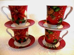 222 Fifth Poinsettia Christmas Coffee Mugs Tea Cups and & Sa