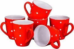 Bruntmor Polka Dot Ceramic Coffee Mugs Set of 6 Large sized