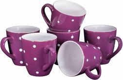 Bruntmor Polka Dot Ceramic Coffee Mug Set of 6 Large Sized C