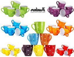 polka dot coffee cups mugs set of