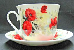 POPPY, FINE BONE CHINA  BREAKFAST CUP SAUCER, ROY KIRKHAM, M