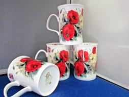 "POPPY ""FOUR"" FINE BONE CHINA mugs, Made In England Roy Kirkh"