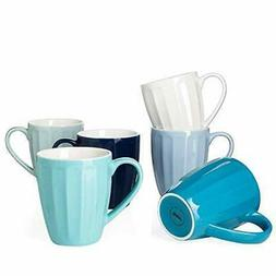 Sweese Porcelain Fluted Mugs - 14 Ounce for Coffee, Tea, Coc
