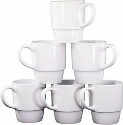 Bruntmor Porcelain Stackable Coffee Cups Mugs Set of 6 Large
