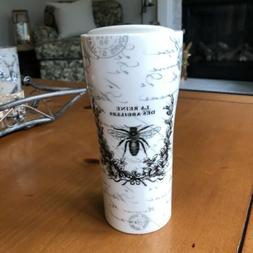 """Ciroa Porcelain Travel Mug W Lid """"Queen Of Bees"""" French"""
