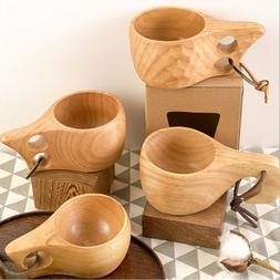 Portable Wood Coffee Mug Wooden Rubber Tea Cups Water Drinki