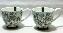 Portobello Black & White Roses on Lt. Blue Bone China Coffee