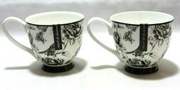 Portobello Black & White Roses on White Bone China Coffee Mu