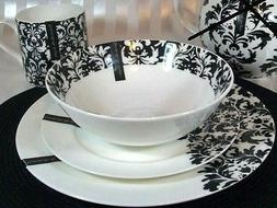 portobello bone china black and white dinnerware