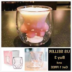 Sakura Cat Paw Glass Cup Coffee Milk Mug Pink for Starbucks