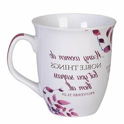 Proverbs 31 Woman Pink White Leaves 16 Ounce Ceramic Stonewa
