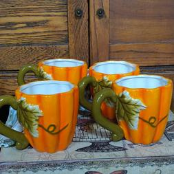 Pumpkin Mugs Set of 4 Ceramic Large Latte Shaped Fall Orange