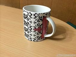 Purse Handbag Fashion Coffee Tea Mug Black Floral Scroll Dam