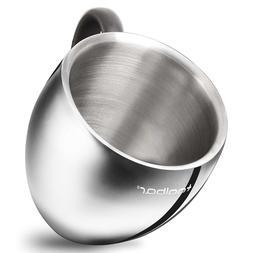 QQ Coffee Mug / Tea Cup Tumbler, 18/10 Stainless Steel Doubl
