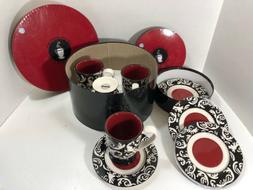 RARE 8 Pcs Mary Kay Stars Ceramic Coffee Hot Cocoa Mugs Plat