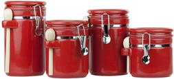 Red Ceramic Kitchen Canister Set Wood Spoons Storage Contain