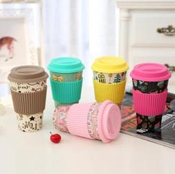 Reusable Bamboo Fiber Mug Travel Coffee Mugs Cups Takeaway &