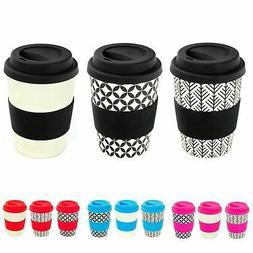Reusable Coffee Cup Travel Mug Eco Friendly Bamboo, 350ml -